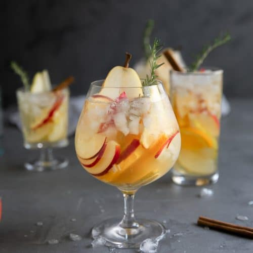 A glass of Apple and Pear Fall Sangria