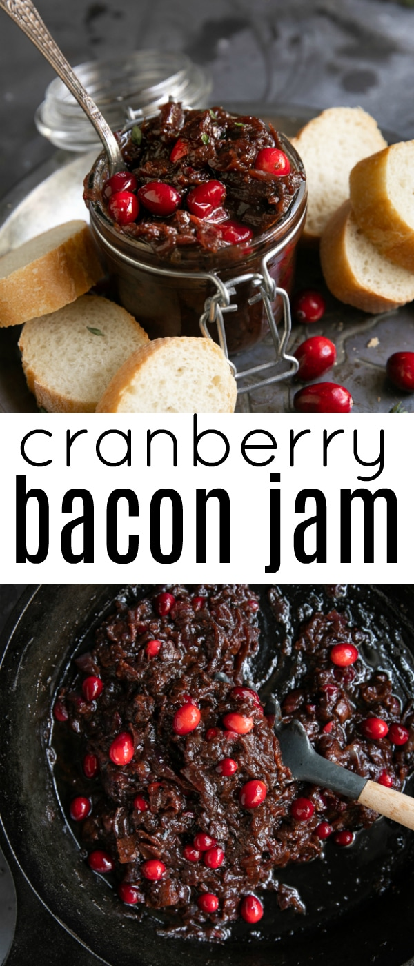 Cranberry Bacon Jam Recipe- made with or without cranberries, this deliciously addicting, sweet and salty combination is made with easy to find ingredients such as onions, bacon, brown sugar, and cranberries. #baconjam #bacon #appetizer | For this recipe and more visit, https://theforkedspoon.com/cranberry-bacon-jam-recipe