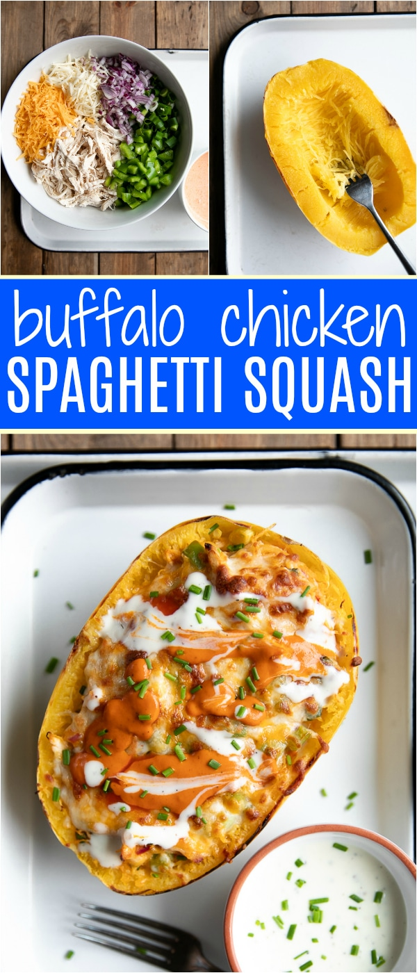 Cheesy Buffalo Chicken Spaghetti Squash - low carb and gluten-free this delicious spaghetti squash recipe is filled with juicy shredded chicken, melted cheese, onions, and buffalo sauce. #spaghettisquashrecip #spaghettisquash #buffalochicken #buffalosauce #lowcarbrecipe #squashrecipe #easydinneridea #glutenfree | For this recipe and more visit, https://theforkedspoon.com/buffalo-chicken-spaghetti-squash-recipe