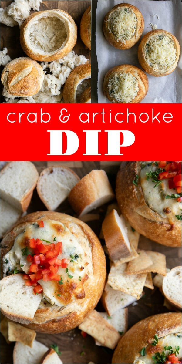 Hot Crab and Artichoke Dip in Bread Bowls #crab #artichokedip #crabdip #superbowl #appetizer #breadbowl #cheese #carbs #spinachartichokedip #theforkedspoon | For this recipe and more visit, https://theforkedspoon.com/crab-artichoke-dip-recipe