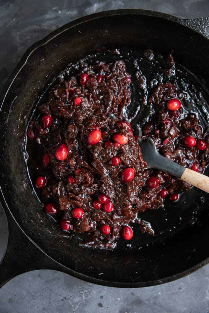 Cooking this cranberry bacon jam recipe in a large heavy-bottomed skillet