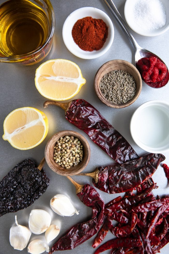 Ingredients to make Harissa Paste