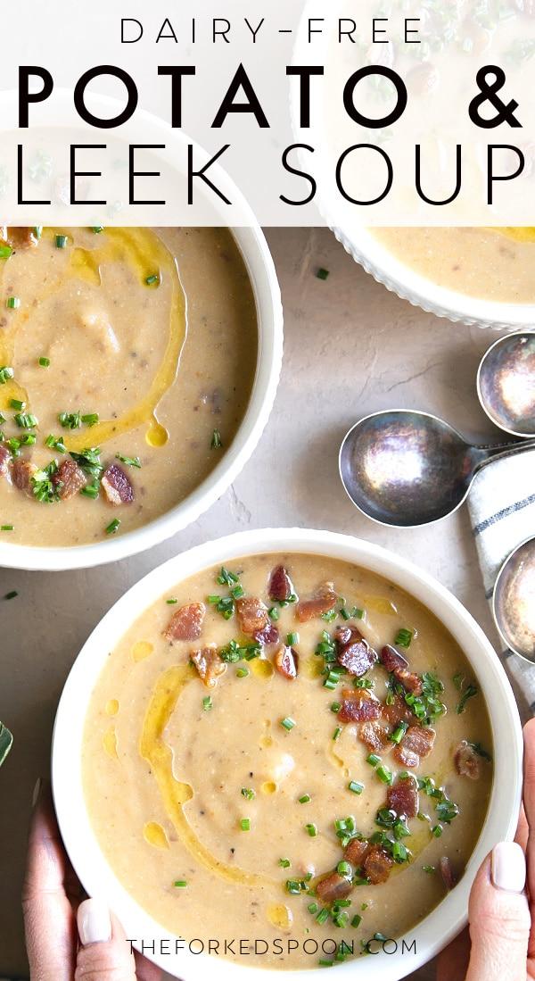 leek and potato soup recipe Pinterest Pin Collage