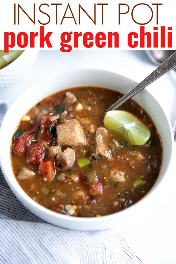 Instant Pot Pork Green Chili Stew pinterest pin collage image