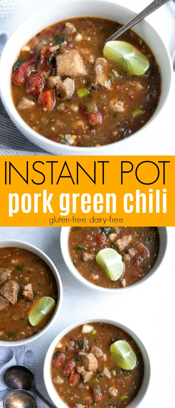 Instant Pot Pork Green Chili Stew- packed with tender, juicy chunks of pork bathed in a mildly spicy, tangy, and hugely flavorful chili tomato sauce. #instantpot #chili #salsaverde #pork #slowcooker #enchiladasauce #easydinner #greenchili #chiliverde | For this recipe and more visit, https://theforkedspoon.com/green-chili-stew/