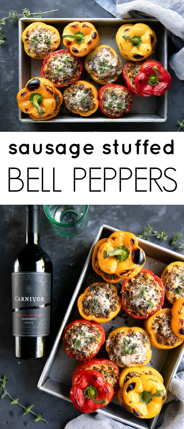 Sausage Stuffed Peppers #ad an easy and delicious home-cooked meal the whole family will love! @carnivorwine #dinner #sausage #easydinner #stuffedpepper | For this recipe and more visit, https://theforkedspoon.com/5-ingredient-sausage-stuffed-peppers