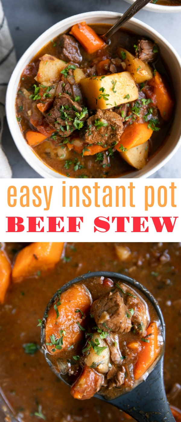 Instant Pot Beef Stewis an easy, mouthwatering, flavor-filled beef stew filled with delicious chunks of tender beef chuck, Yukonpotatoes, and sweet carrots. #instantpot #beefstew #instantpotbeefstew #pressurecooker #easydinner #stew #whole30 | For this recipe and more visit, https://theforkedspoon.com/instant-pot-beef-stew