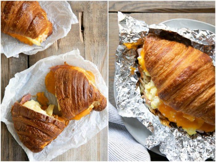 Breakfast sandwich cut in half