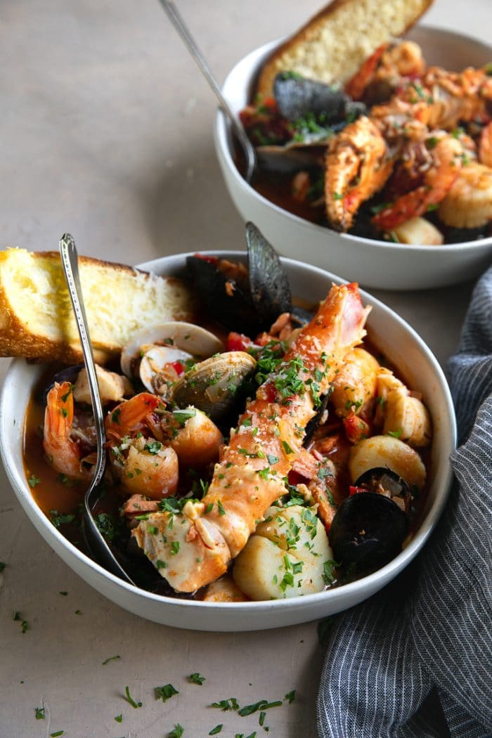 Bowl filled with Cioppino seafood stew