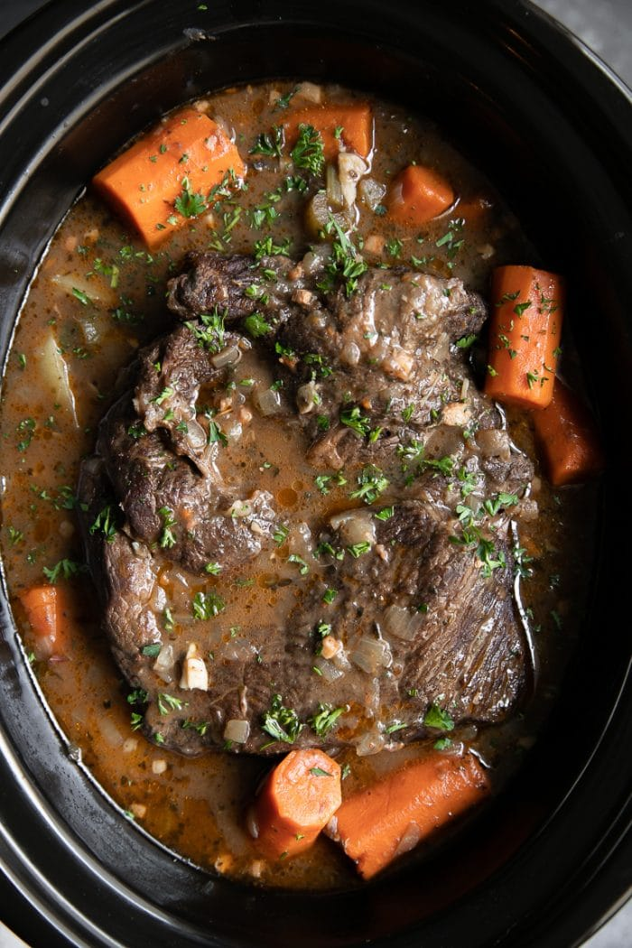 Fully cooked pot roast with carrots slow cooker.
