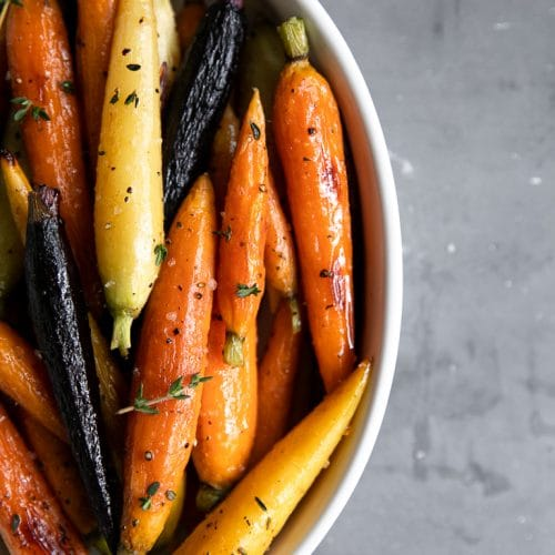 A plate of honey glazed carrots