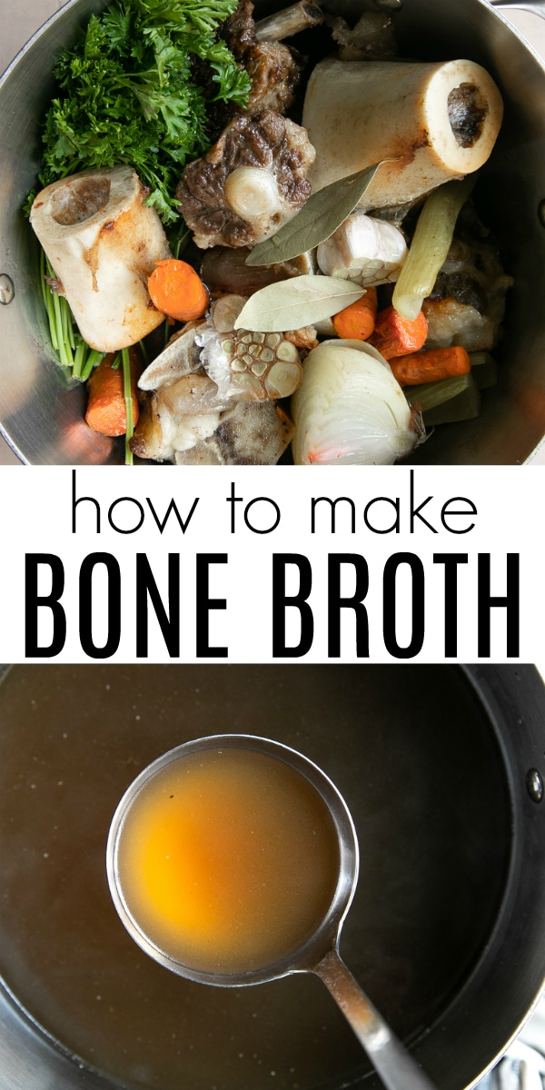 Homemade Bone Broth Recipe (How to Make Bone Broth) #bonebroth #beef #beefstock #beefbroth #homemade #soup #glutenfree #dairyfree | For this recipe and more visit, https://theforkedspoon.com/bone-broth-recipe/
