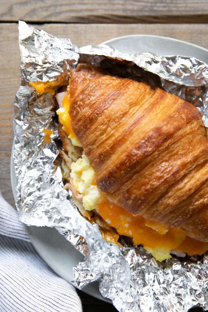 Hot baked croissant breakfast sandwich
