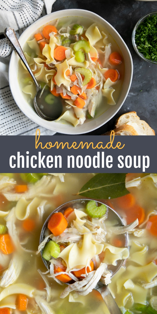 Homemade Chicken Noodle Soup #chickennoodlesoup #chickensoup #souprecipe #soup #chickenrecipe #noodles | For this recipe and more visit, https://theforkedspoon.com/homemade-chicken-noodle-soup