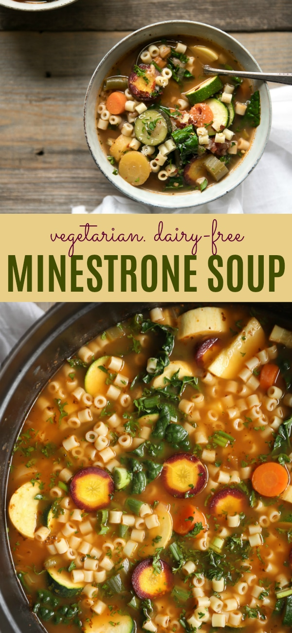 Easy Vegetarian Minestrone Soup  #soup #vegetarian #healthy #pasta #vegetables #dairyfree #minestronesoup #easyrecipe #theforkedspoon | For this recipe and more visit, https://theforkedspoon.com/minestrone-soup