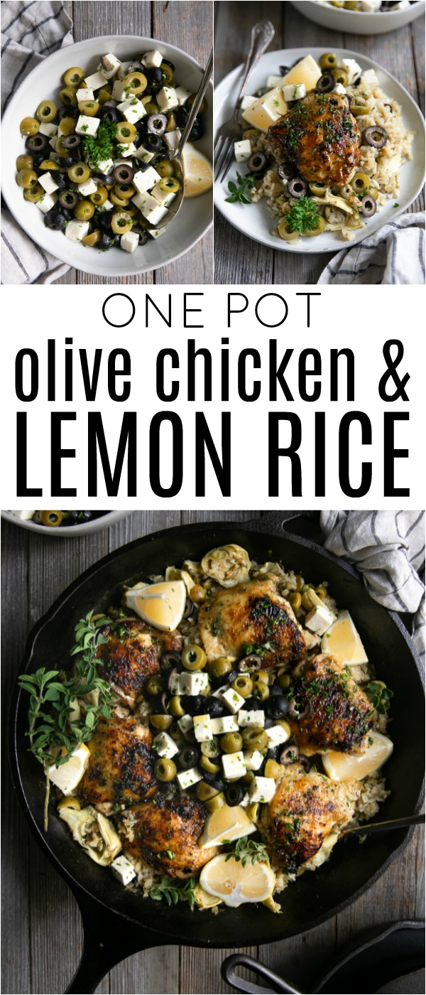 One Pot Olive Chicken and Lemon Rice- easy, comforting, home-cooked meal made with juicy marinated chicken thighs, rice, California Green Ripe Olives, California Black Ripe Olives, artichoke hearts, lemon, and fresh herbs #sponsored @CalRipeOlives #onepanmeal #chickenandrice #olives #chickendinner | For this recipe and more visit, https://theforkedspoon.com/olive-chicken-and-lemon-rice
