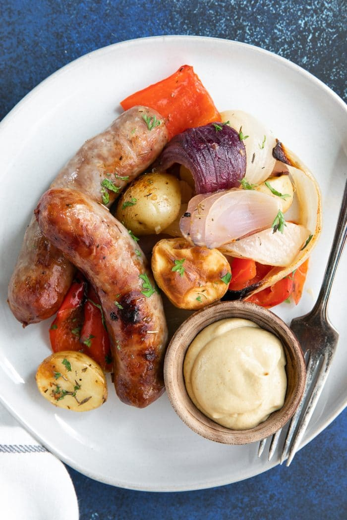 Easy Oven-Roasted Sausage and Potatoes Recipe with mustard