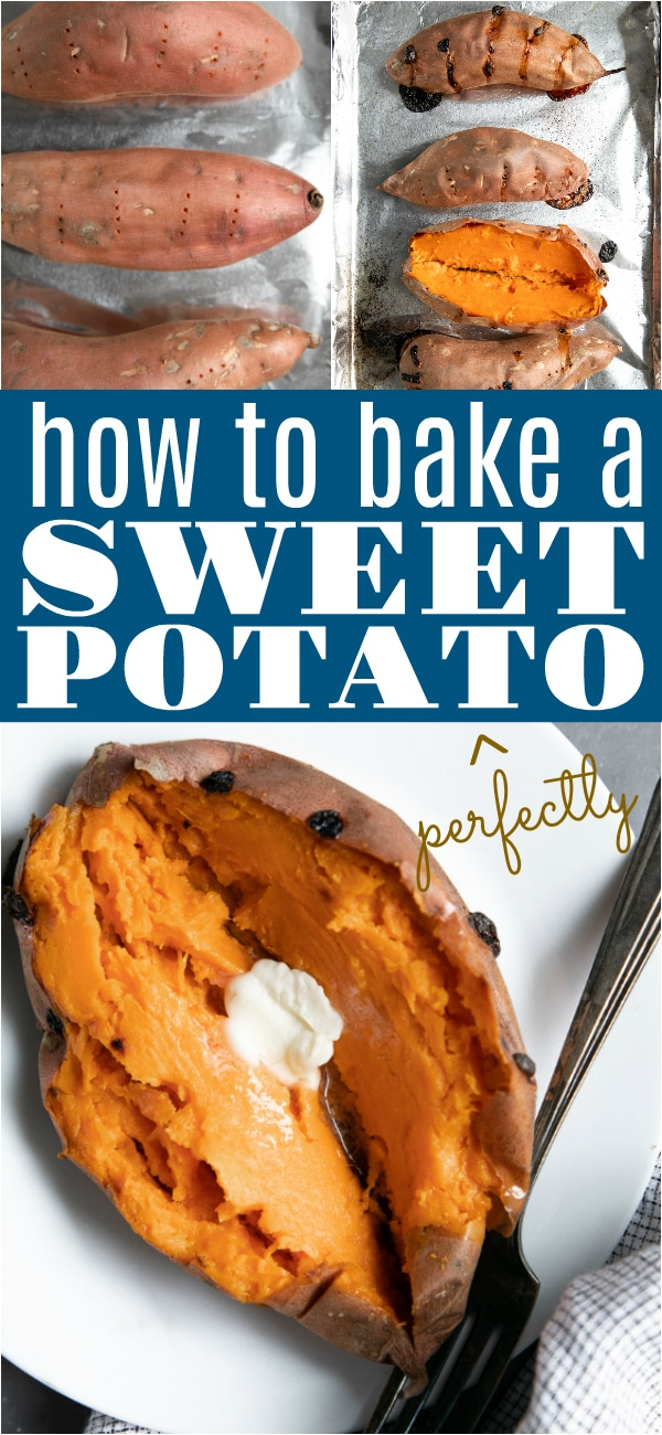 Baked Sweet Potato. Learn how to make perfect, delicious sweet potatoes every single time with this easy to follow guide and recipe. #sweetpotato #bakedsweetpotato #sides #easyrecipes | For this recipe and more visit, https://theforkedspoon.com/baked-sweet-potato