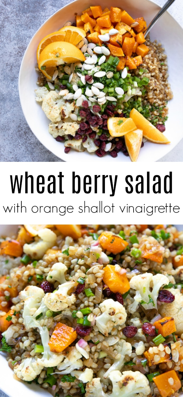 Wheat Berry Salad with Orange Shallot Vinaigrette - fresh, healthy, and bursting with flavor #salad #wheatberry #wheatberries #butternutsquash #vegetarian #dairyfree | For this recipe and more visit, https://theforkedspoon.com/wheat-berry-salad/