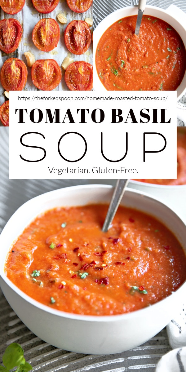 Homemade Tomato Basil Soup Pinterest Pin Collage Image