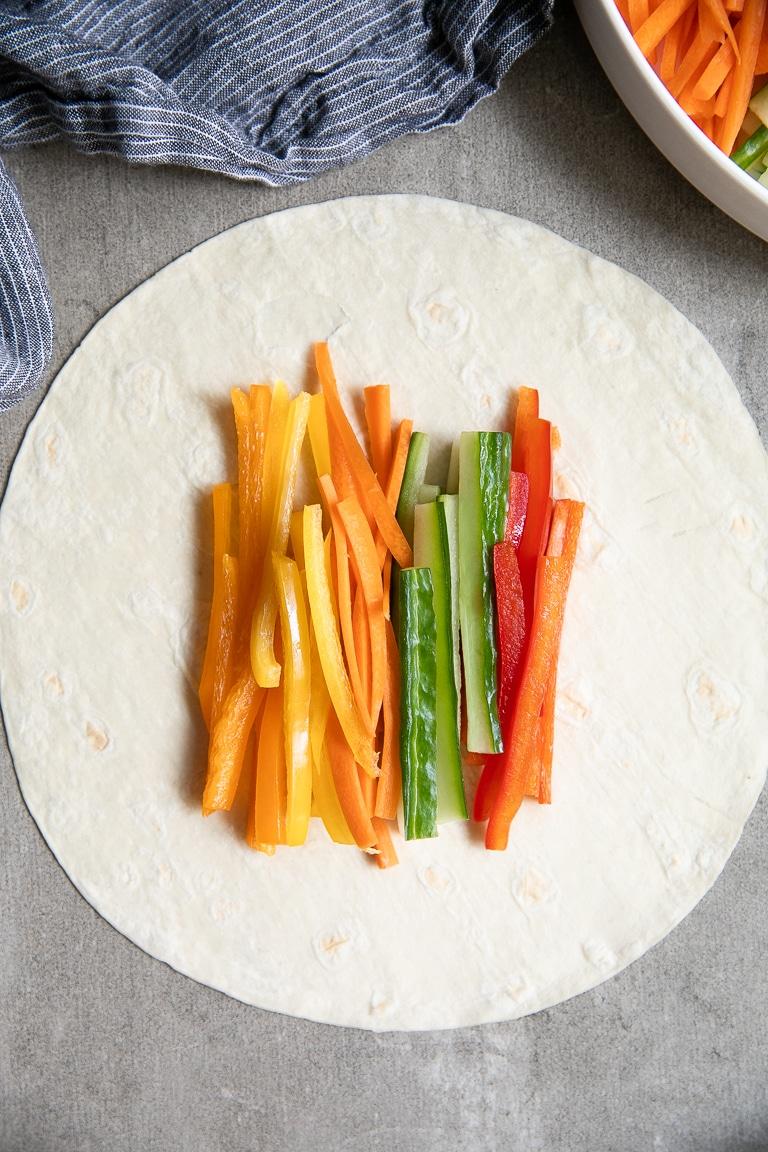 veggies on tortilla
