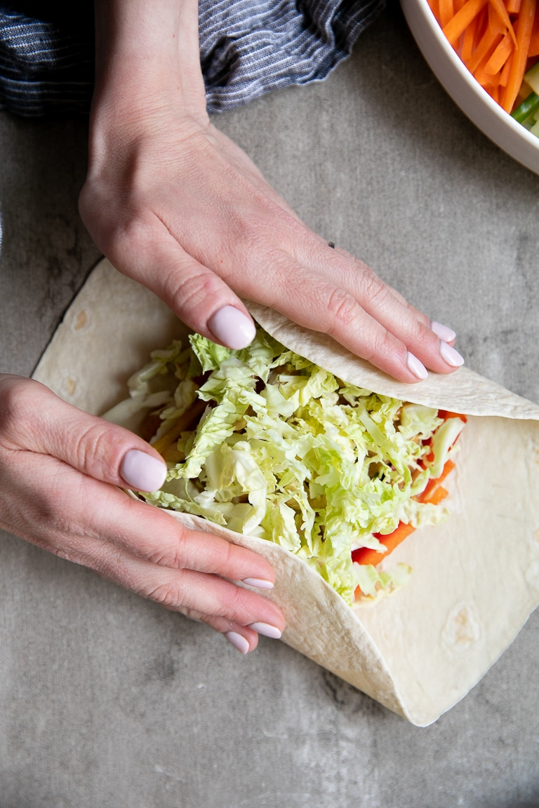 wrap being rolled by hand