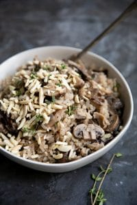 A bowl of Mushroom Rice Pilaf