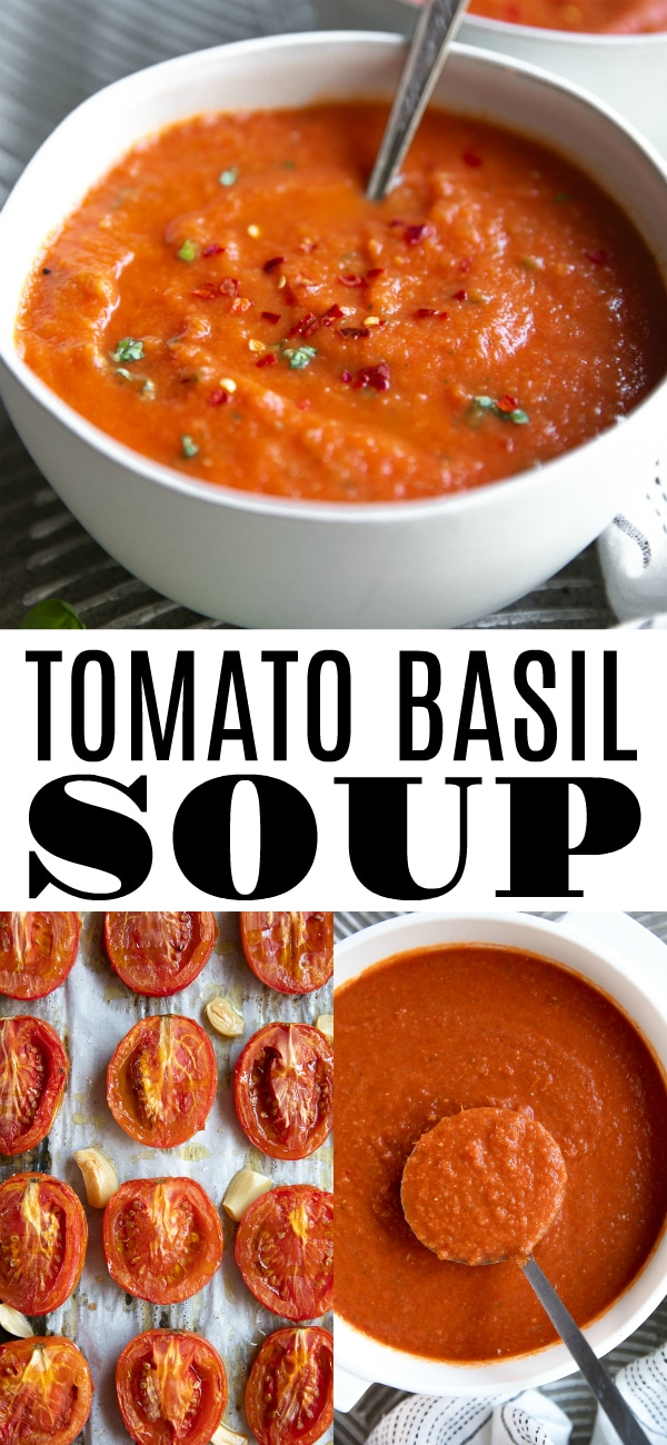 Homemade Tomato Basil Soup Recipe #tomatosoup #roastedtomatosoup #roastedtomatoes #tomatobasilsoup #homemade #lowcarb #healthy | For this recipe and more visit, https://theforkedspoon.com/homemade-roasted-tomato-soup