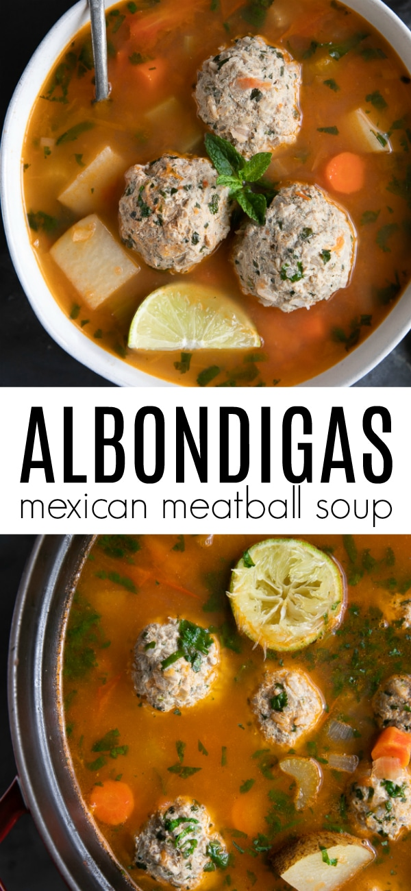 Albondigas Soup Recipe (Mexican Meatball Soup) #meatballsoup #albondigas #albondigasoup #albondigassoup #Mexicanmeatballsoup #meatballs #soup #souprecipe #groundbeef | For this recipe and more visit, https://theforkedspoon.com/albondigas-soup
