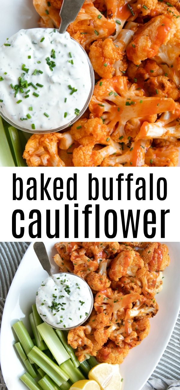 Baked Buffalo Cauliflower Recipe #cauliflower #buffalocauliflower #lowcarb #buffalosauce #sidedish #hotsauce | For this recipe and more visit, https://theforkedspoon.com/easy-buffalo-cauliflower