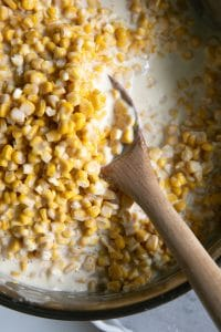 A close up of corn, with Cream