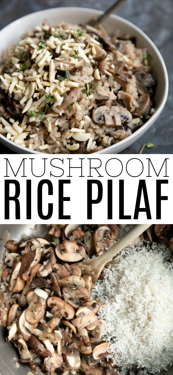 One-Pot Mushroom Rice Pilaf Recipe #ricepilaf #mushrooms #sidedish #glutenfree #ricerecipes #mushroomrice #onepotrecipes #vegetarian | For this recipe and more visit, https://theforkedspoon.com/mushroom-rice-pilaf