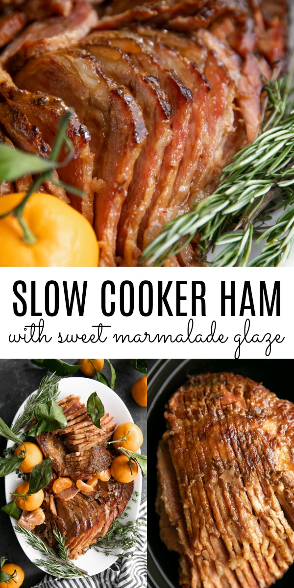 Slow Cooker Ham with Marmalade Glaze #slowcooker #crockpot #ham #holidayham #christmas #marmalade #slowcookerham #hamrecipe | For this recipe and more visit, https://theforkedspoon.com/slow-cooker-ham
