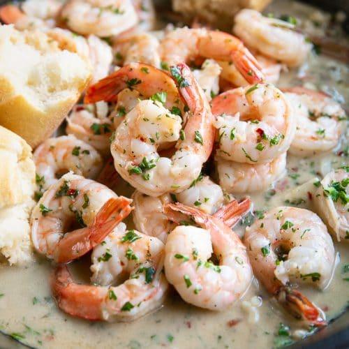 A close up of Shrimp Scampi