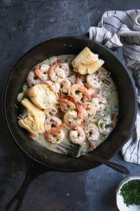 A pan of Shrimp Scampi