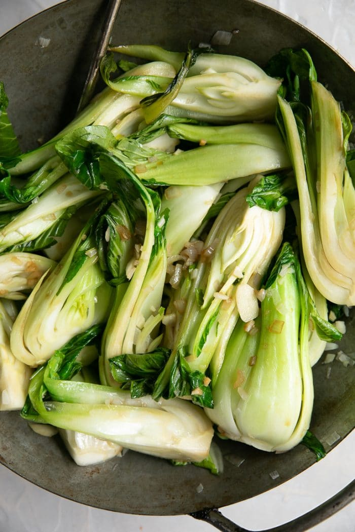 10 Minute Garlic Bok Choy Recipe The Forked Spoon
