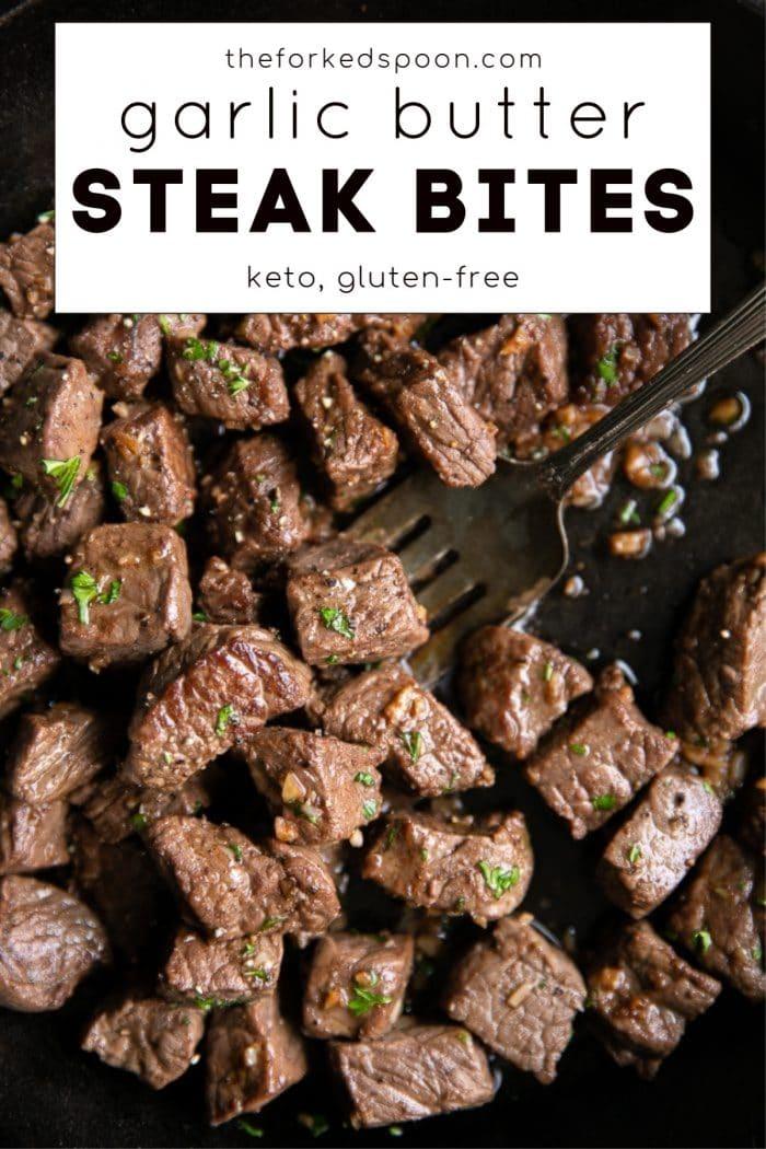 garlic butter steak bites pinterest pin