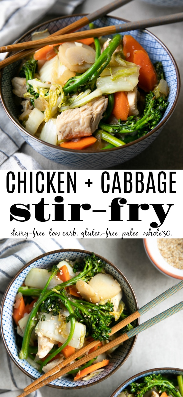 Low Carb Chicken Cabbage Stir Fry Recipe #lowcarb #paleo #glutenfree #dairyfree #stirfry #chicken #cabbage #chickenstirfry #healthy #onepot #whole30 #30minutemeal | For this recipe and more visit, https://theforkedspoon.com/chicken-cabbage-stir-fry