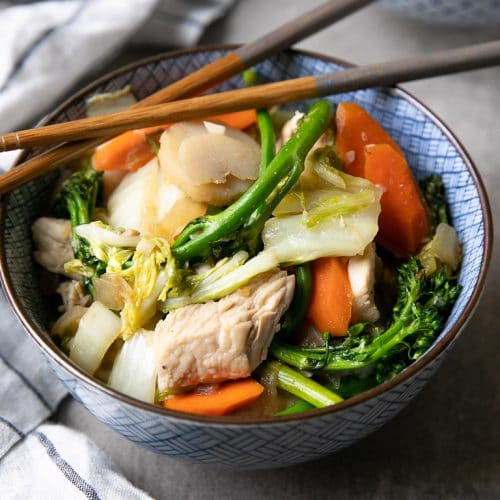 A bowl of food, with Chicken Cabbage Stir Fry