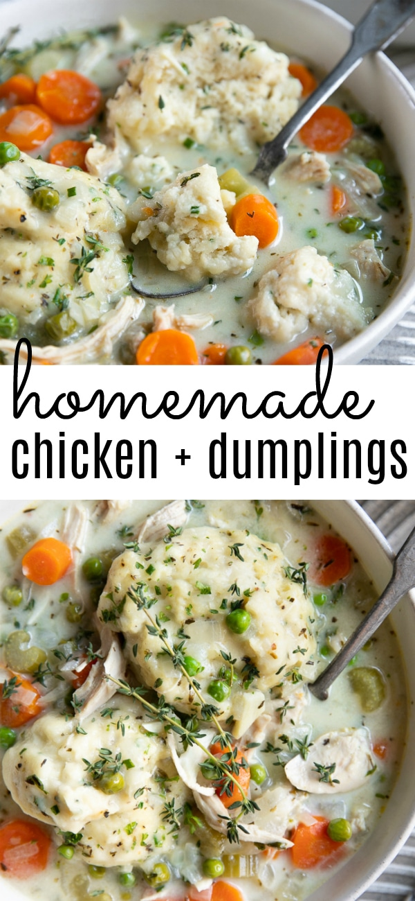 Easy Chicken and Dumplings Recipe #chickenanddumplings #homemadechickenanddumplings #chickenanddumplingsrecipe #dumplings #comfortfood | For this recipe and more visit, https://theforkedspoon.com/chicken-and-dumplings-recipe