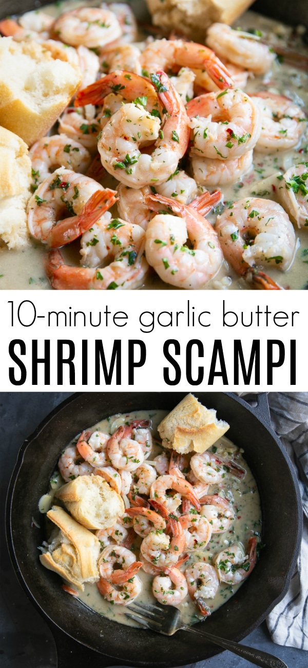 Easy Shrimp Scampi Recipe #shrimpscampi #shrimprecipe #easyshrimprecipe #seafood  #lowcarb #glutenfree #easydinner | For this recipe and more visit, https://theforkedspoon.com/shrimp-scampi-recipe/