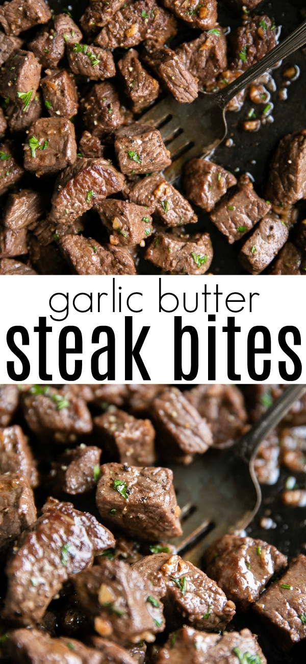 Garlic Butter Steak Bites #lowcarb #glutenfree #steak #steakbites #garlicbuttersteakbites #paleo #easyrecipe | For this recipe and more visit, https://theforkedspoon.com/garlic-butter-steak-bites