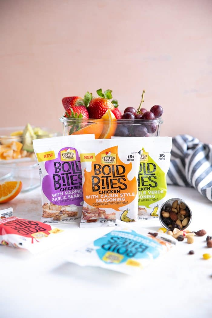 Foster Farms Bold Bites with snack pack meal prep containers in the background.