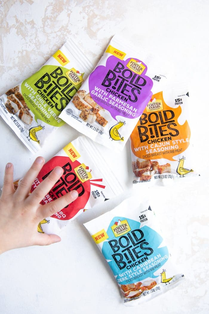 Five different flavors of Foster Farms Bold Bites.
