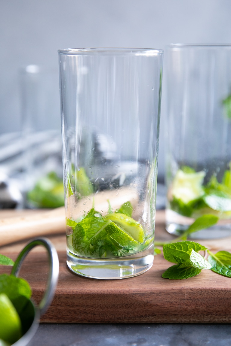 A close up of glass, with Mojito mint