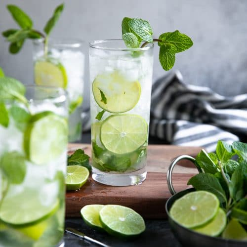 A glass of mojito on a table