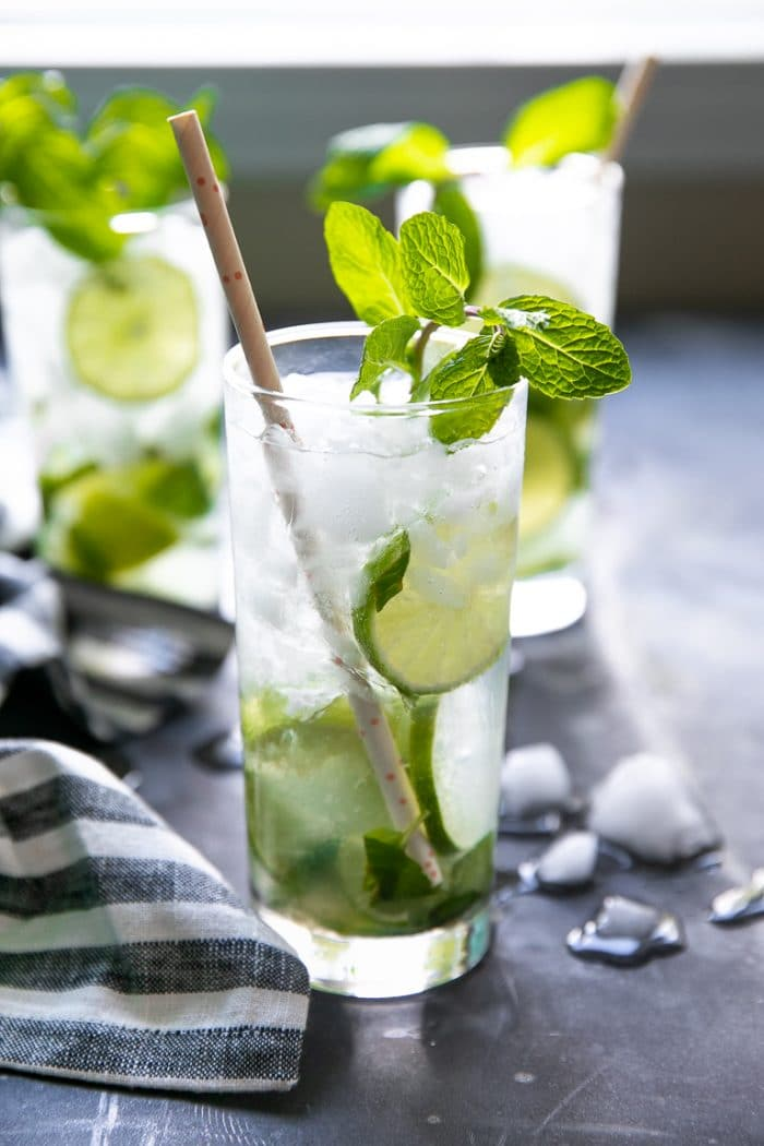 Classic Mojito garnished with fresh mint.