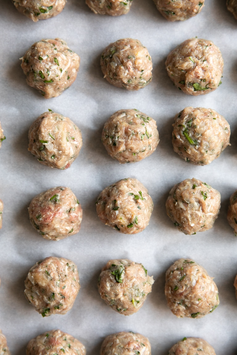 A close-up meatballs for Italian wedding soup