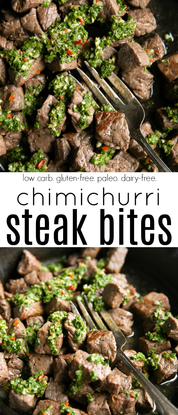 15-Minute Chimichurri Steak Bites #steakbites #chimichurri #steak #beef #glutenfree #dairyfree #paleo #lowcarb | For this recipe and more visit, https://theforkedspoon.com/chimichurri-steak-bites/