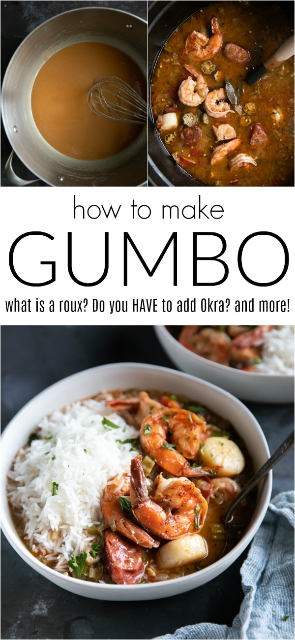 Chicken, Sausage and Seafood Gumbo Recipe #gumbo #gumborecipe #seafoodgumbo #stew #cajunfood #roux #shrimp #sausage | For this recipe and more visit, https://theforkedspoon.com/gumbo-recipe/